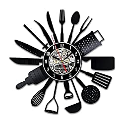 Kitchen Utensil Vinyl Wall Clock - Tools and Utensils Gift - Cook Decor Set for Mom - Chef Ideas - Housewife Cooking - Dining Room Art - Gifts Women
