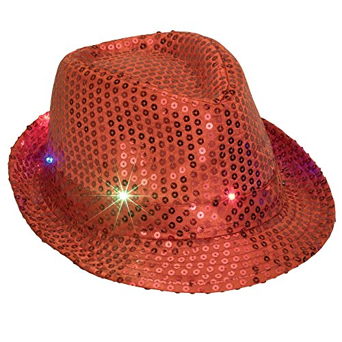 Bits and Pieces - Red Flashing Sequin Hat - Light Up LED Party Hat