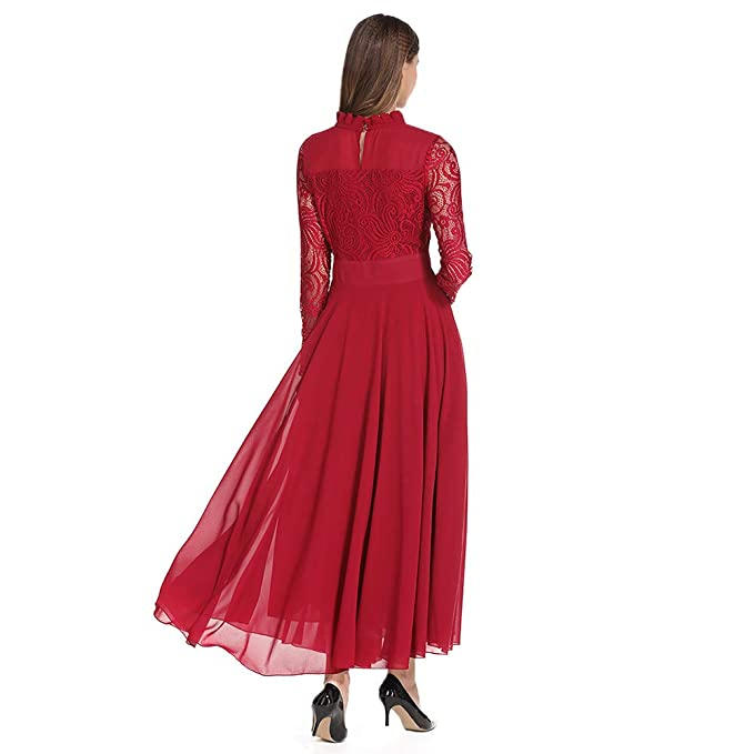 Amazon.com: Womens Long Dresses Hot Sale,DEATU Ladies Chiffon Lace Formal Evening Party Ball Gown Prom Long Sleeve Dress: Clothing