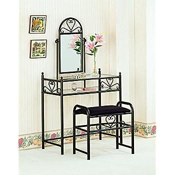 Amazon.com | Black Metal Bedroom Vanity with Glass Table & Bench ...