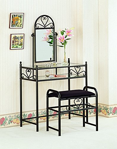 Coaster Traditional Black Metal Vanity with Glass Top and Fabric Stool - bedroomdesign.us