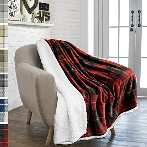 PAVILIA Premium Sherpa Throw Blanket for Couch Sofa | Soft Micro Plush Reversible Throw | Lightweight All Season Plaid Design Fleece Blanket (50 X 60 Inches Red)