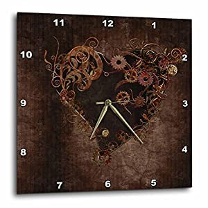 3dRose dpp_172232_2 Decorated Brown Steam Punk Heart-Wall Clock, 13 by 13-Inch