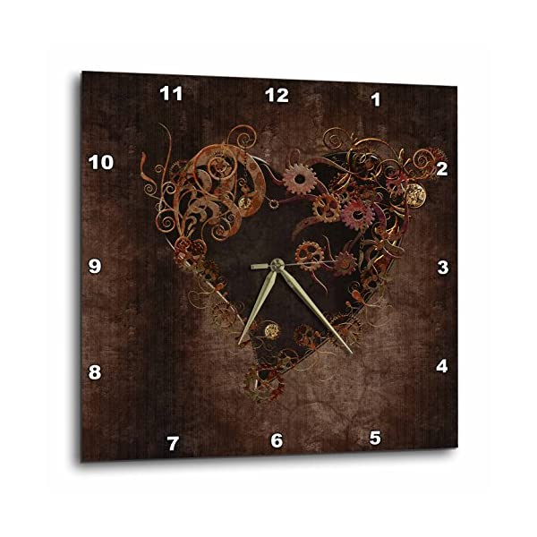 "3dRose Decorated Brown Steam Punk Heart Wall Clock, 15 by 15"" 3"