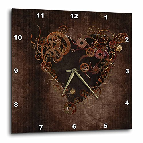 3dRose Decorated Brown Steam Punk Heart Wall Clock, 15 by 15″