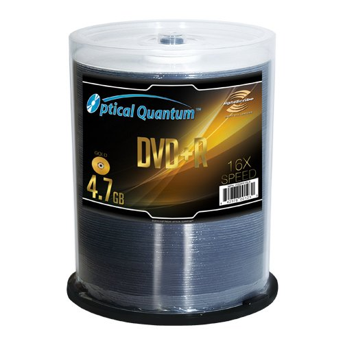 Optical Quantum OQDPR16LS LightScribe Media Gold 16x 4.7GB DVD+R Discs - 100 Disc Spindle by Optical Quantum