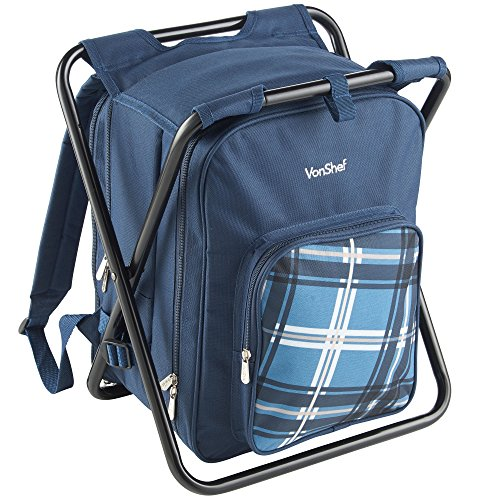 VonShef 2 in 1 Blue Picnic/Outdoor Activity Backpack & Stool ()