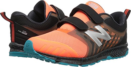 (New Balance Kids' Fuelcore Nitrel Hook and Loop Trail-Runners, Dynomite/Black, 12.5 W US Little)