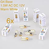 Weanas® 6x G4 Base 24 LED Light Bulb Lamp 1.5 Watt AC DC 12V/10-20V Warm White Undimmable Equivalent to 10W T3 Halogen Track Bulb Replacement 360° Beam Angle