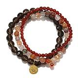 Satya Jewelry Smokey & Rutilated Quartz, Carnelian Gold Plate Mandala Stretch Bracelet