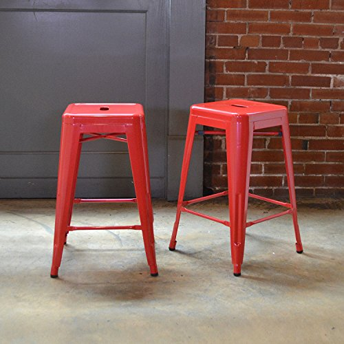 Amerihome 2 Piece Metal Bar Stool Red 24 Inch Kitchen