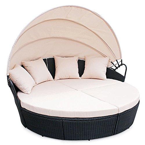 POLY RATTAN Sunbed Lounge Gartenset Schwarz Sofa Garnitur Polyrattan ...