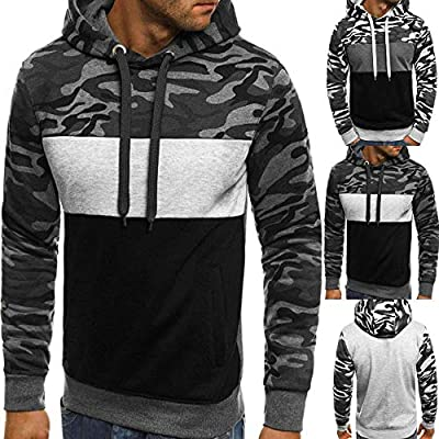 POHOK Clearance Men's Pullover Long Sleeve Hooded Camouflage Plus Size Sweatshirt Tops Blouse