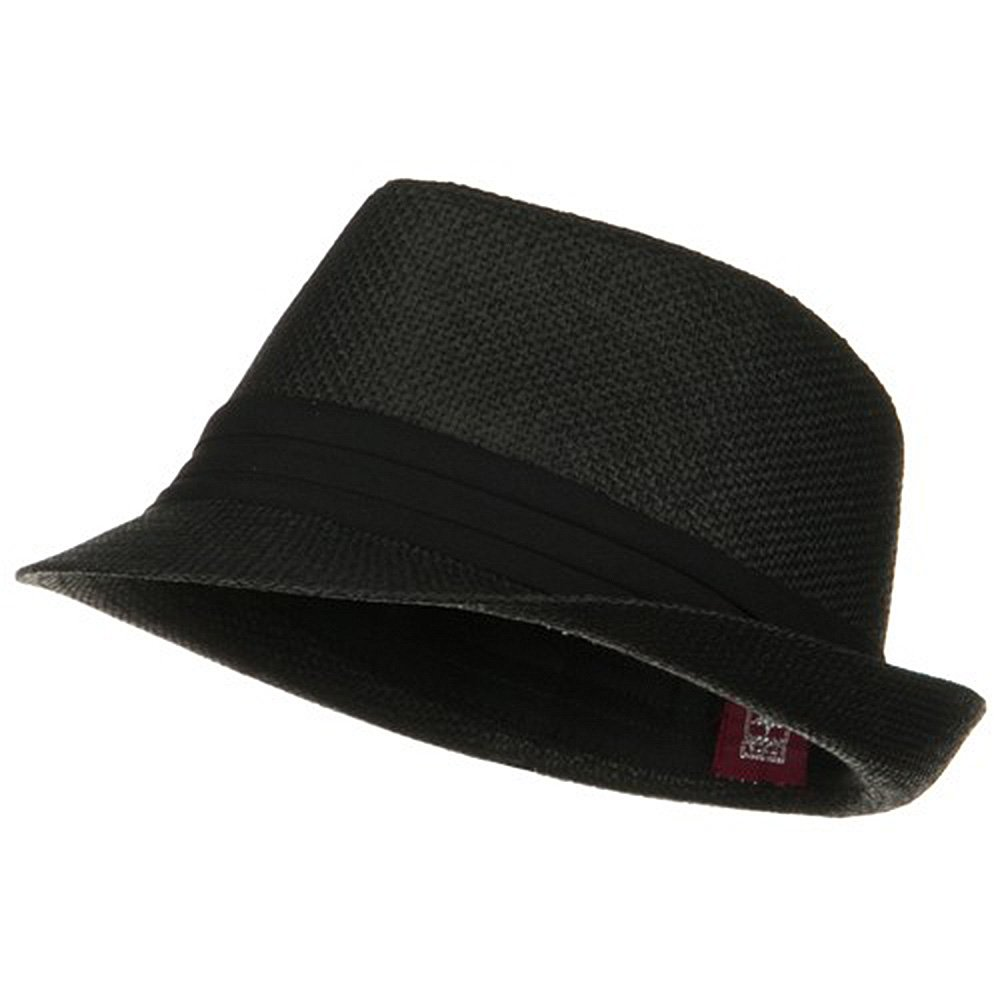 Solid Band Summer Straw Fedora - Black Black W20S58B