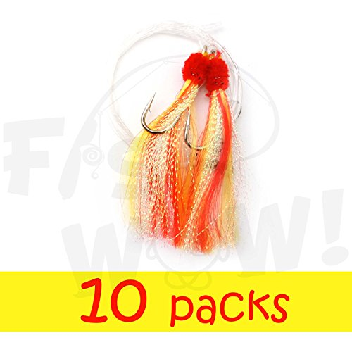 - Fish WOW! Fishing Shrimp Fly Rig - Red/Yellow - 10 Packs