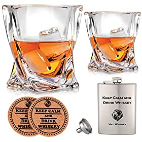 Vaci Crystal Whiskey Glasses – Set of 2 Bourbon Glasses, Tumblers for Drinking Scotch, Cognac, Irish Whisky, Large 10oz Premium Lead-Free with Stainless Steel Flasks, Cups, Luxury Gift Box