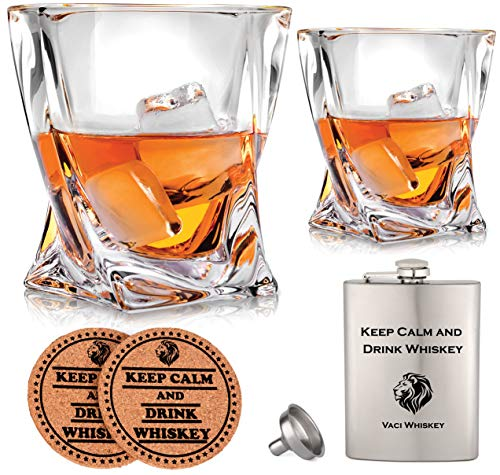 Vaci Crystal Whiskey Glasses - Set of 2 Bourbon Glasses, Tumblers for Drinking Scotch, Cognac, Irish Whisky, Large 10oz Premium Lead-Free with Stainless Steel Flasks, Cups, Luxury Gift Box