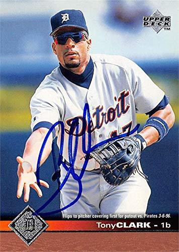 Tony Clark Autographed Baseball Card Detroit Tigers 67 1997 Upper