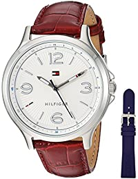 Women's Quartz Stainless Steel and Leather Watch, Color Red (Model: 1781709)