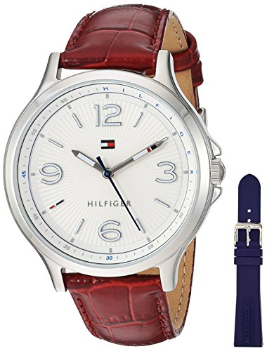 Tommy Hilfiger Women's Quartz Stainless Steel and Leather Automatic Watch, Color:Red (Model: 1781709)