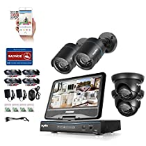 SANNCE 4 Channel 720P DVR Video Security System with Build-in 10.1 LCD Monitor and (4) 1.0MP 1280TVL Weatherproof Outdoor CCTV Cameras, Support P2P Technology and QR Code Scan Phone (NO HDD)