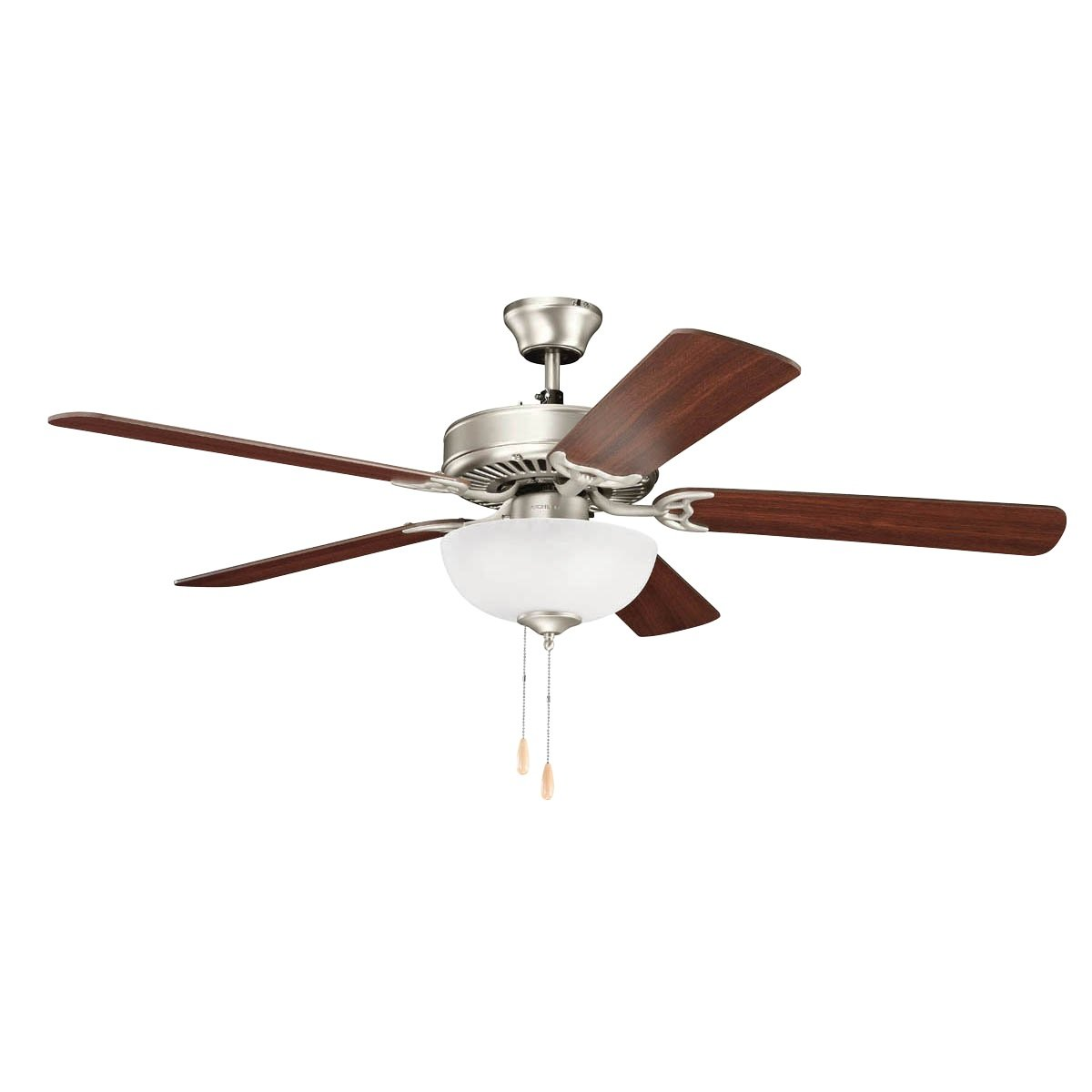 """Kichler 403NI7 Basics Select 52"""" Ceiling Fan with Lights, Brushed Nickel"""