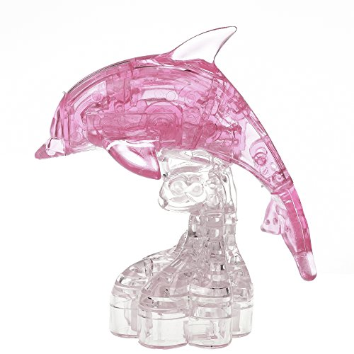 BCP 38 Pieces 3D Crystal Dolphin Puzzle Blocks (Pink) - 3d Puzzle Block