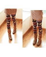 Fashion Women's Xmas Snowflake Reindeer Knitted Tights Pants Warm Leggings 1984