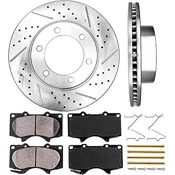 4 Ceramic Pads Front Kit Heavy Tough-Series Fits:- 5lug 2 Cross-Drilled Disc Brake Rotors