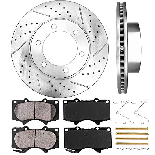 Dust Disc Brake Pad Axle - Callahan CDS02019 FRONT 318.77 mm Premium D/S 6 Lug [2] Brake Disc Rotors + [4] Ceramic Brake Pads + Hardware