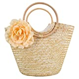 Monique Women Rose Flower Handbag Oversize Straw Knitted Tote Two Ring Top Handle Bag Summer Beach Clutch Beige