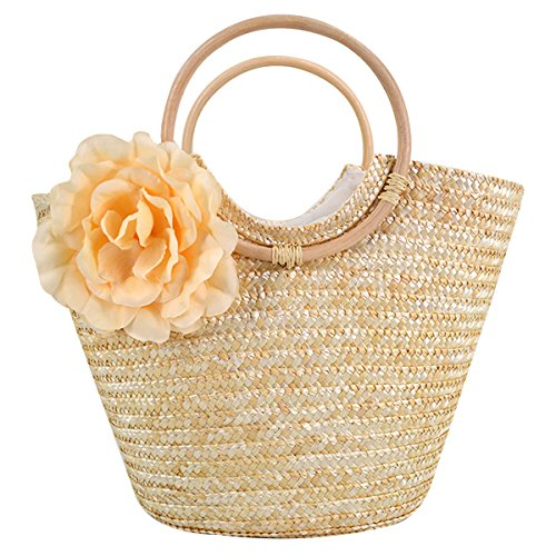 Knitted Purse Handles (Women Rose Flower Handbag Straw Knitted Tote Two Ring Top Handle Bag Summer Beach Clutch Beige)