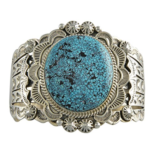 Select Jewelry Displays Mary Ann Spencer Sterling Silver Kingman Spiderweb Turquoise Cuff Bracelet Navajo