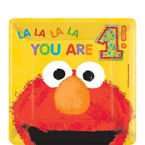 Amscan Elmo'S 1st Birthday Square Plates, 7