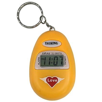 VISIONU Reloj Llavero Parlante en Español, Alarma LCD con Voz (Amarillo)