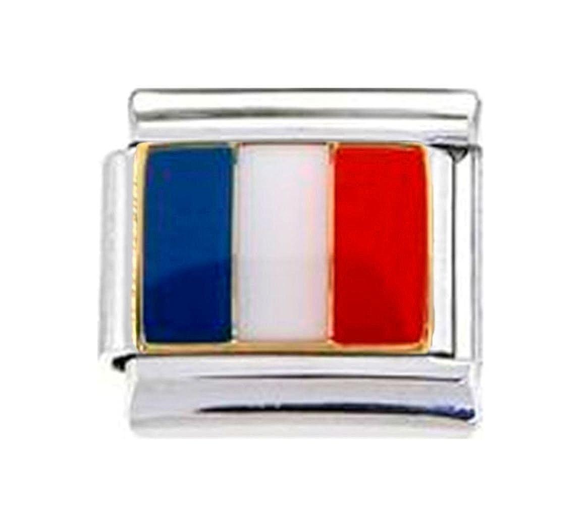 Stylysh Charms FRANCE FRENCH FLAG Enamel Italian 9mm Link PE011
