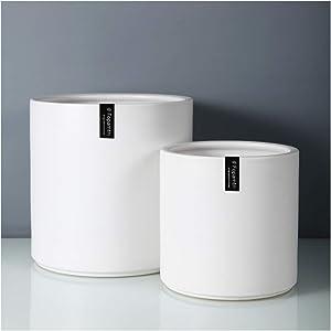Fopamtri Plant Pot Set Matte White Ceramic Planter for Indoor Outdoor Plants Flowers Medium 8
