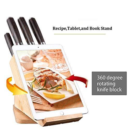Deik Juegos Cuchillos Cocina, Set Cuchillos de 6 Piezas, Incluye un Bloque de Madera y 5 Piezas de Cuchillos de Cocina Acero Inoxidable Alemán
