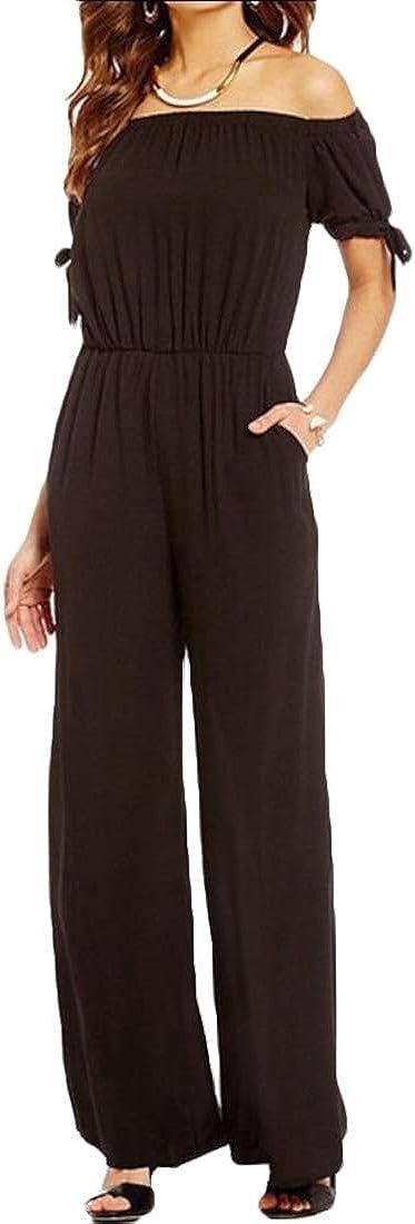 Women Off The Shoulder Wide Leg Long Pants Casual Loose One Piece Jumpsuits Romper