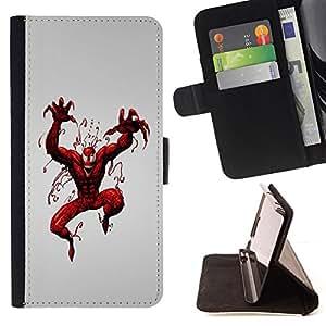 BullDog Case - FOR/Sony Xperia m55w Z3 Compact Mini / - / Evil Superhero /- Monedero de cuero de la PU Llevar cubierta de la caja con el ID Credit Card Slots Flip funda de cuer