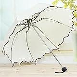 Lookatool Flouncing Folding Lotus Leaves Princess Dome Parasol Sun/Rain Umbrella BG