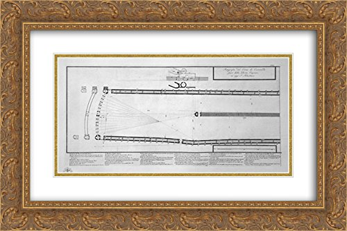 Giovanni Battista Piranesi 2x Matted 24x16 Gold Ornate Framed Art Print 'Ground plan of the Circus of Caracalla in today Capena outside the Porta S. Sebastian, in the two boards - Today Galleria Open