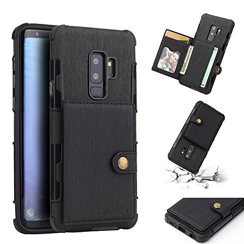 AICEDA Samsung Galaxy S9 Plus Case, Wallet Case, Case Slim Premium PU Leather Flip Case Cover with Card Slots & Kickstand Compatible with Samsung Galaxy S9 Plus - Black