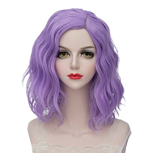 TOPMAX Lolita Multi-Color Short Wavy Halloween Cosplay Wigs and Cap, Purple Beach
