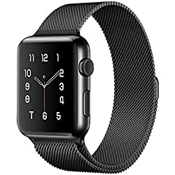 Lelong Apple Watch Band,Milanese Loop Fully Magnetic Clasp Stainless Steel Mesh iWatch Band for Apple Watch Series 3 Series 2 Series 1 Sport & Edition- 42mm Black