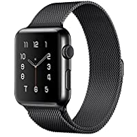 Apple Watch Band,Milanese Loop Fully Magnetic Clasp Stainless Steel Mesh iWatch Band for Apple Watch Series 3 Series 2 Series 1 Sport & Edition- 38mm Black