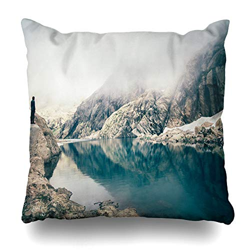 (AileenREE Throw Pillow Covers Travel Traveler Standing Alone On Cliff Lake Foggy Walking Mountains Lifestyle Inspiring Parks Pillowcase Square Size 18 x 18 Inches Home Decor Cushion Cases)