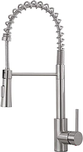 Commercial Lead Free Stainless Steel Single Lever Handle Brushed Nickel Pull Down Sprayer Spring Kitchen Faucet, Kitchen Sink Faucet With Pull Down Sprayer