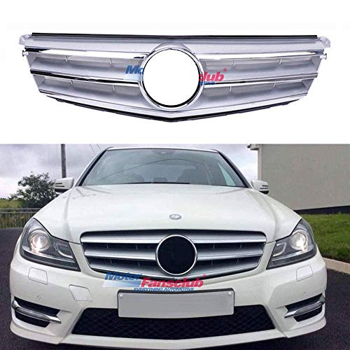 MotorFansClub Radiator AMG Style Sport Grille Grill for Mercedes-Benz C-Class W204 08-14(Silver)