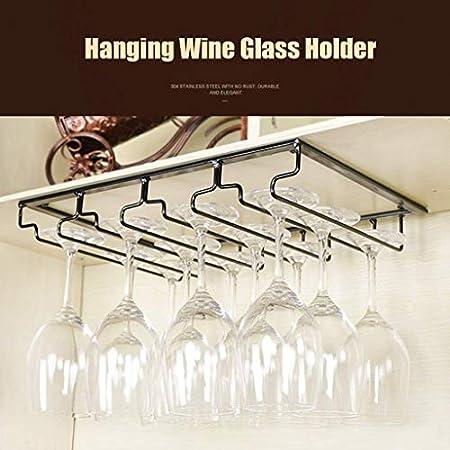 WLABCD Bar Barra de Vino Restaurante Montado en la Pared Botella de Vino Taller, Cocina Copa de Vino Talleres de Alenamiento, Doble Fila Armario de Vino Copa de Vino Colgador de Gancho,8 Filas